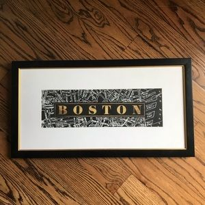 Other - BOSTON framed black white and gold wall art